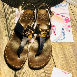 Tory Burch Lovingly Worn Navy and Brown Sandals